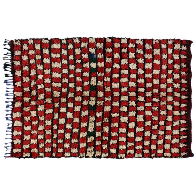 Image of Red & White Moroccan Rug - 5' X 4'3''