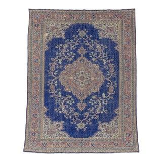 Vintage Blue Turkish Oushak Rug - 7′8″ × 10′2″