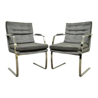 Vintage Mid-Century Modern Chrome Arm Chairs - A Pair