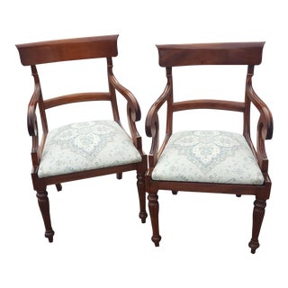 Traditional Wood Arm Chairs - A Pair