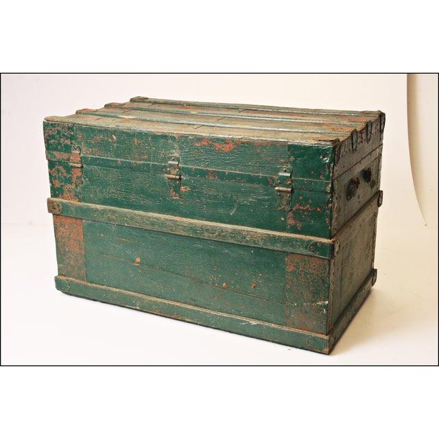 Vintage Industrial Green Wood Steamer Trunk - Image 9 of 11