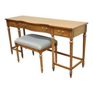 Vintage Thomasville French Walnut Vanity Desk & Bench - A Pair