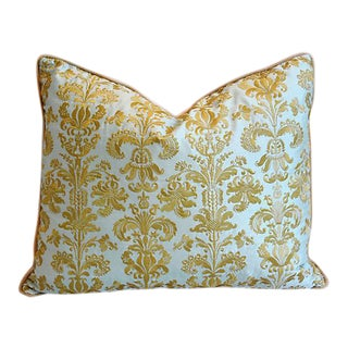 "21"" x 18"" Custom Tailored English Gold Embroidered Silk Feather/Down Pillow"