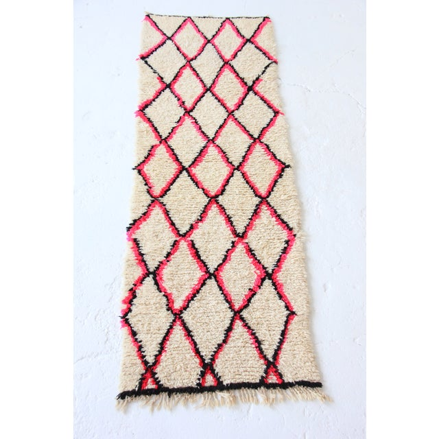 Vintage Moroccan Beni Ourain Pink Runner - Image 2 of 7