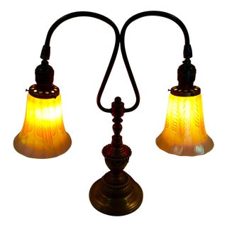 Quoizel for Tiffany Antique Brass Lamp