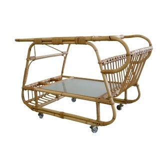 Mid-Century Danish Rattan Bar Cart
