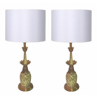 Hollywood Regency Green and Brass Table Lamps - A Pair