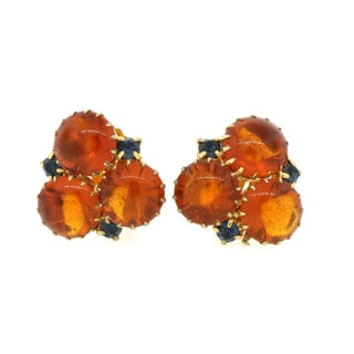 Orange Blue Stone Gold Clip Earrings