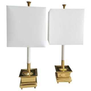 Brass Candle Stick Lamps With Shades - A Pair
