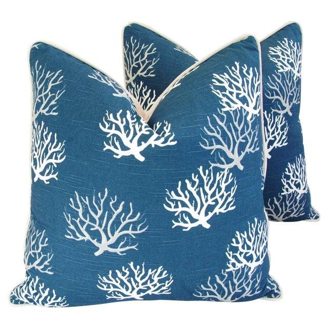Custom Ocean & Beach Coral Branch Pillows - A Pair - Image 1 of 10