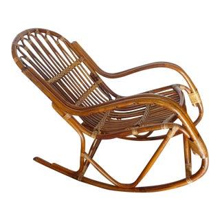 Franco Albini Style Rattan Rocking Chair