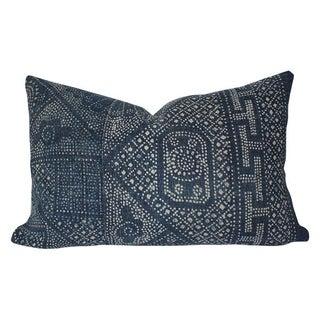 Vintage Indigo Batik Lumbar Pillow