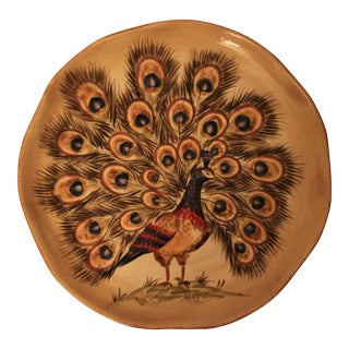 Hand Painted & Hand Crafted Peacock Serving Platter