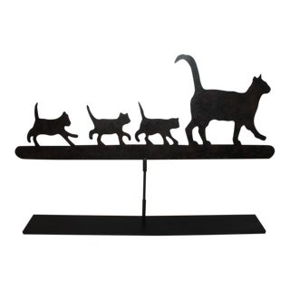 Early 20th Century Original Painted Folky Cats Weathervane