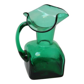 Small Emerald Blown Glass Pitcher by Blenko