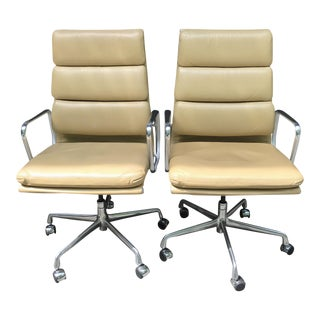 Eames High-Back Executive Leather Chairs- A Pair