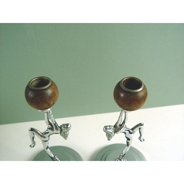 Image of Antique Deco Chrome Nude Candleholders - A Pair