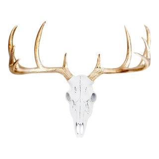 White & Gold Antler Faux Deer Skull