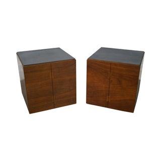 Lane Mid-Century Modern Walnut Cube Side Tables - A Pair