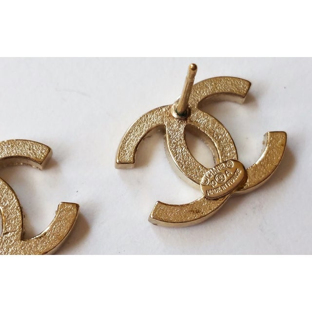 Image of Chanel Classic  Gold  Rhinestone Piercing Earrings