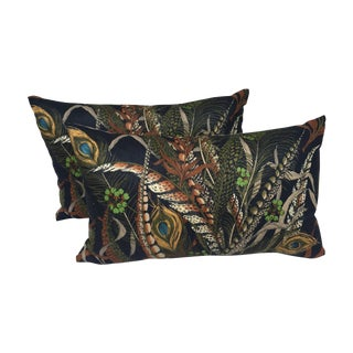 Peacock & Feather Pillows - Pair