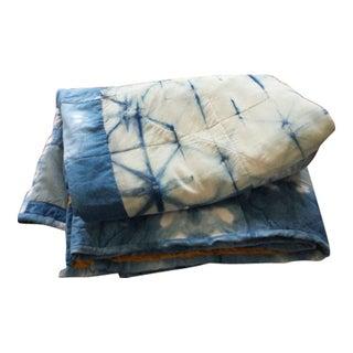 Silk and Linen Hand Dyed Organic Indigo Quilt