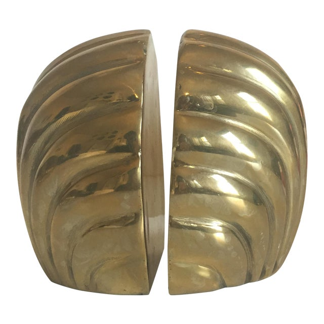 Vintage hollywood regency brass shell bookends a pair for Decorative crafts inc brass