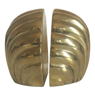 Vintage Hollywood Regency Brass Shell Bookends - A Pair
