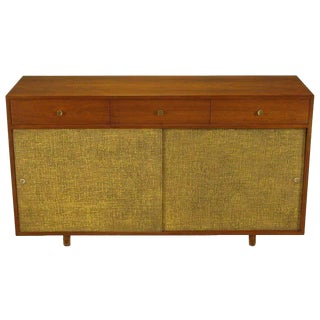 Walnut & Lacquered Linen Front Nine-Drawer Cabinet