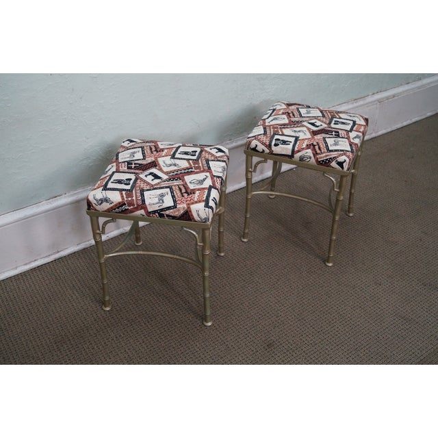 Vintage Faux Bamboo Metal Ottomans - A Pair - Image 3 of 10