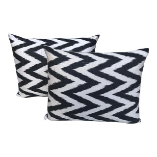 Modern Black & White Chevron Woven Silk Ikat Pillows - a Pair