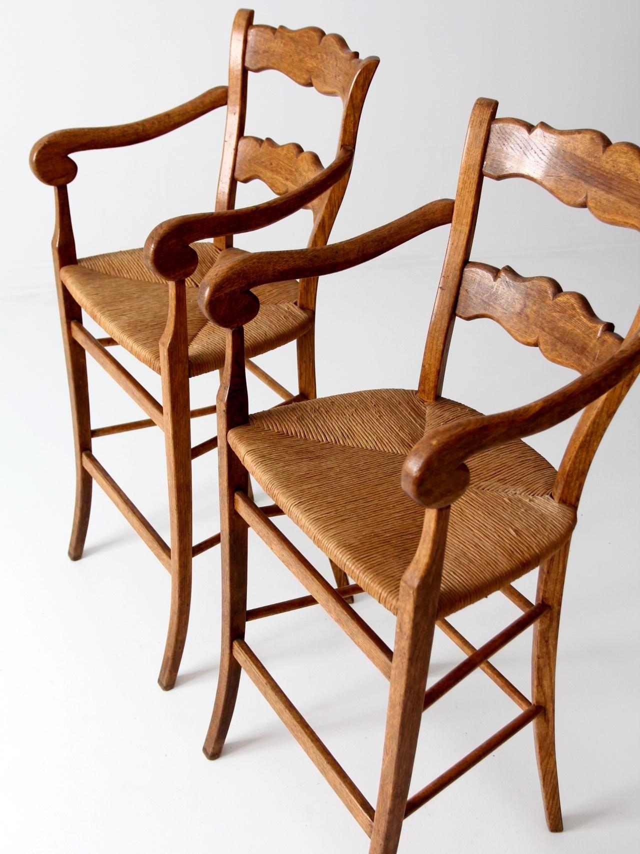 Vintage High Back Bar Arm Stools A Pair Chairish