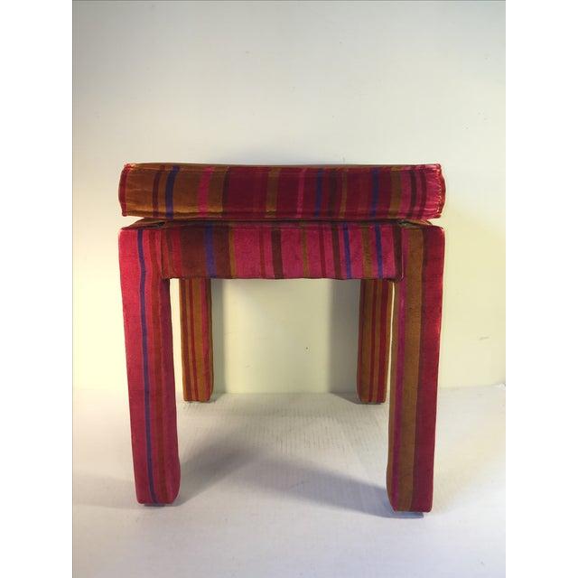 Mid-Century Stool with Pink Larsons Velvet Fabric - Image 2 of 5