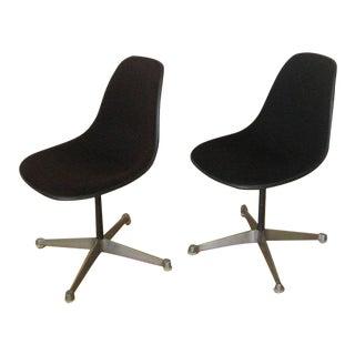 Pair Eames Black Fiberglass Shell Chairs, Aluminum Group