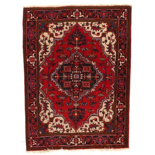 Hand-Knotted Persian Heris Rug - 4′10″ × 6′4″