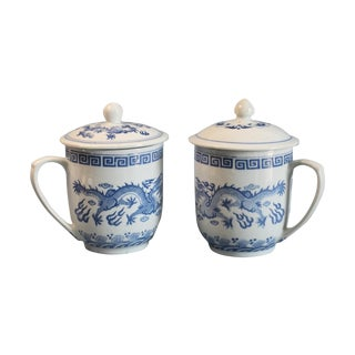 Covered Blue and White Tea Cups - A Pair
