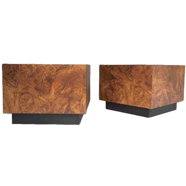 Vintage Burl Wood Cube Tables - A Pair - Image 1 of 10