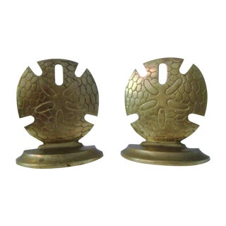 Brass Sand Dollar Bookends - A Pair
