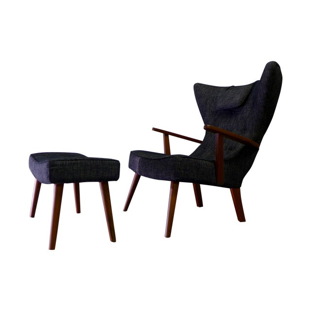 Image of Tufted Mid Century Modern Lounge Chair And Ottoman