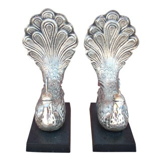 Metal Peacock Bookends - A Pair