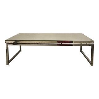 Mid-Century Modern Distressed Mirror & Chrome Coffee Table