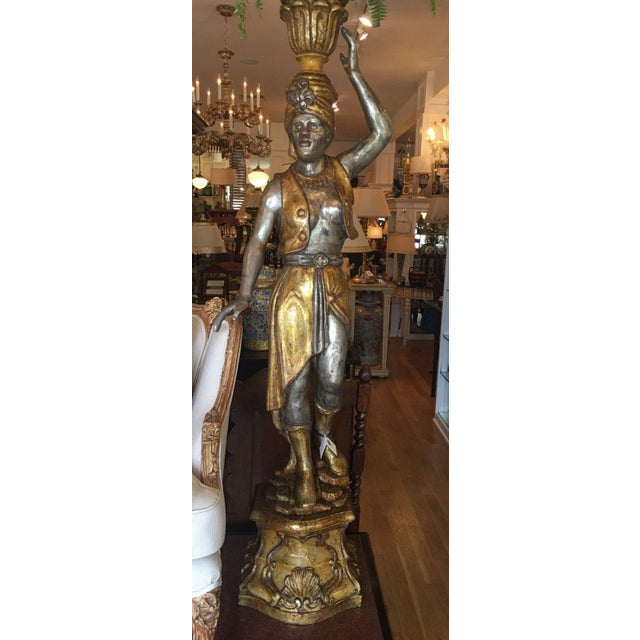 Pair of Huge Venetian Gilt-Wood Designer Blackamoor Plant Stands / Lamps - Image 3 of 6