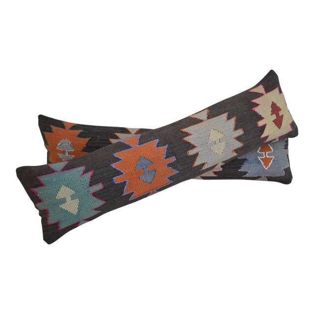 Turkish Kilim Lumbar Pillow Covers - Pair - Image 1 of 5