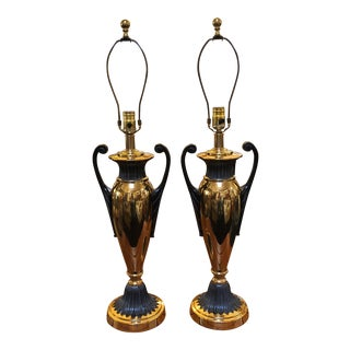 Frederick Cooper Empire Brass Lamps - a Pair