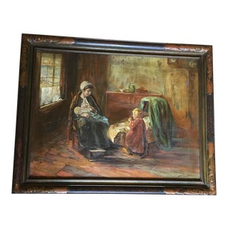 Paul Doering Mother & Child Oil Portrait Painting