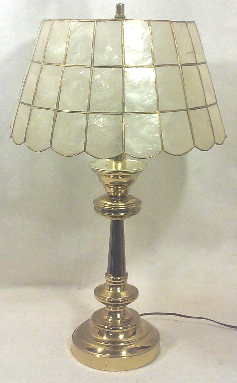 Marvelous Brass Table Lamp With Capiz Shell Shade   Image 5 Of 5
