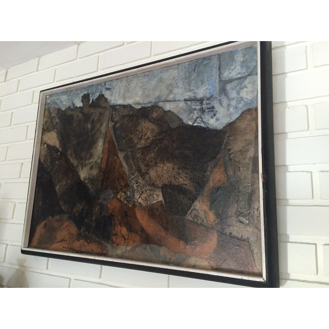 Mid Century Mixed Media Abstract Painting - Image 3 of 6