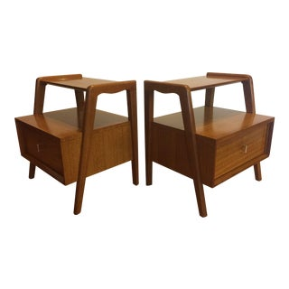 Brown Saltman Mid-Century Mahogany Nightstands - A Pair