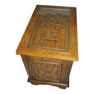 Wood Cabinet With Oriental-Style Carvings