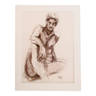 Male Nude Signed Pastel Drawing 1980's